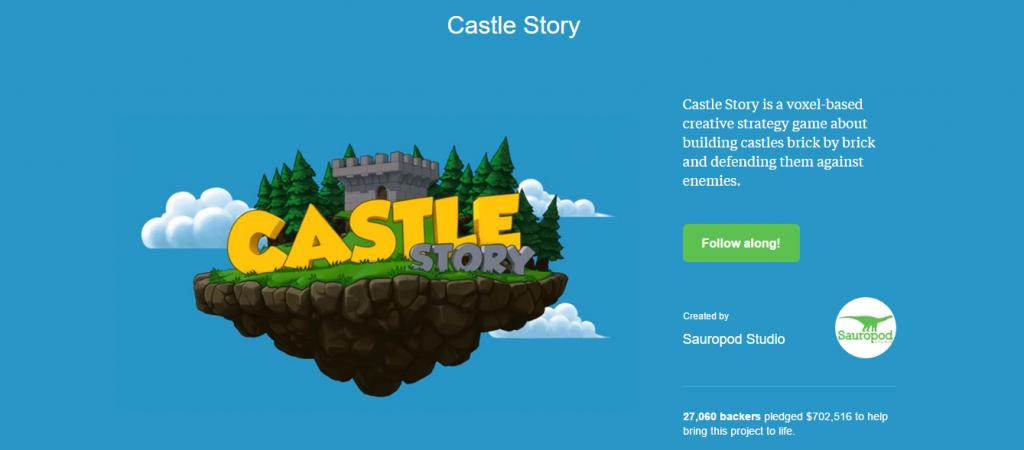 Screenshot of the Castle Story Kickstarter landing page
