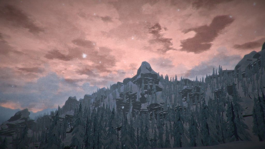 Pink sky during sunset over a mountain and forest in The Long Dark