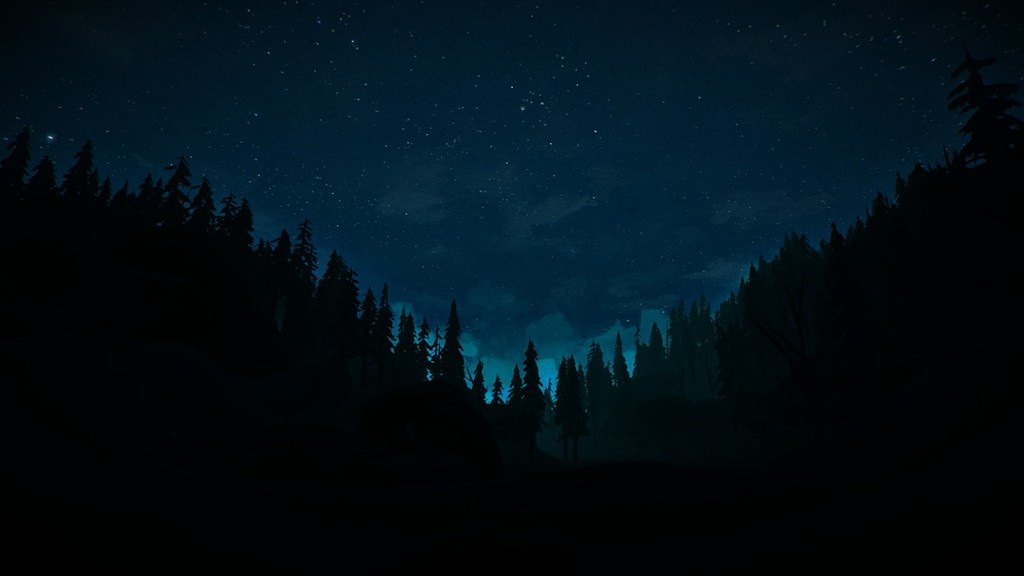 A starry dusk over the forest in The Long Dark.